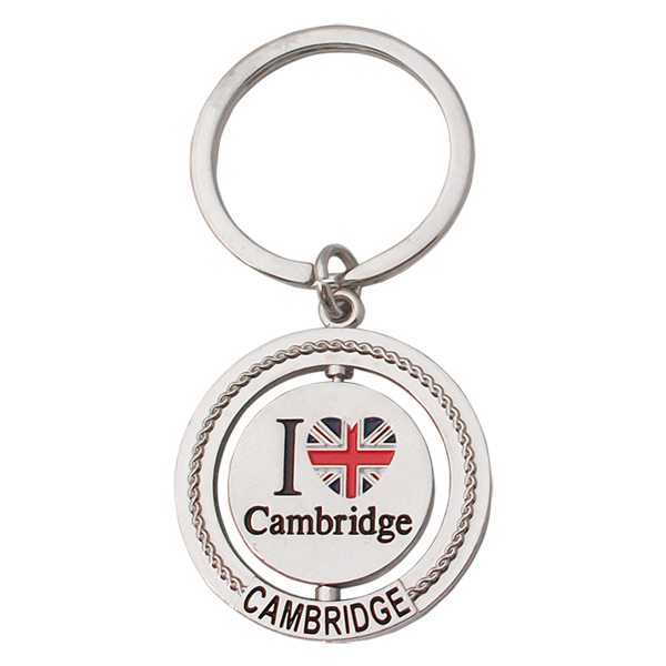 Key Ring - I Love Cambridge - Round Spinner