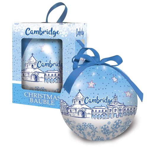 Cambridge winter scene bauble in a presentation box