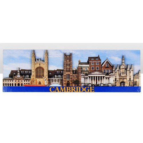A wooden magnet with Cambridge skyline of iconic buildings