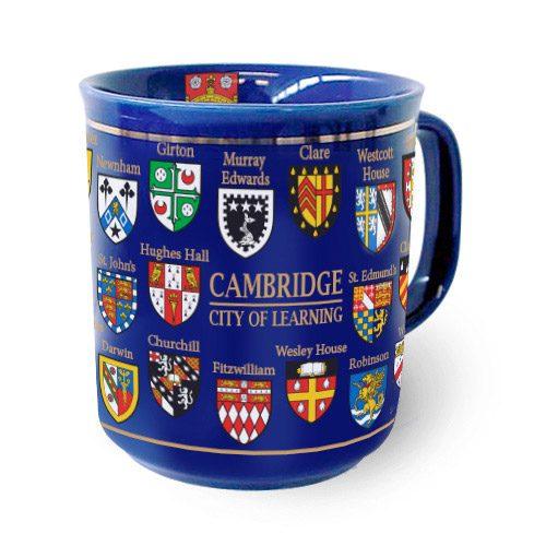 Cambridge college crests ona blue mug