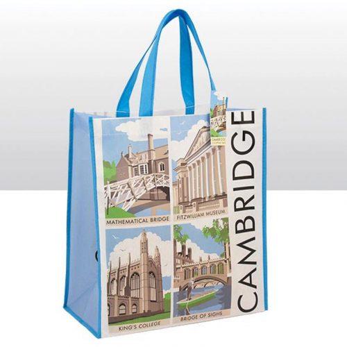 Contemporary non woven bag with print of Cambridge scenes