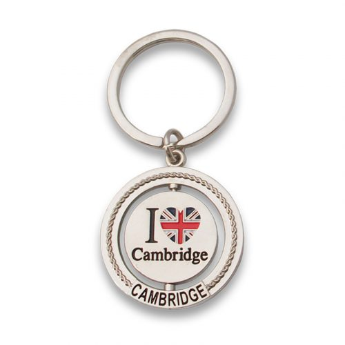 Round spinner metal keyring with I love Cambridge Union Jack heart