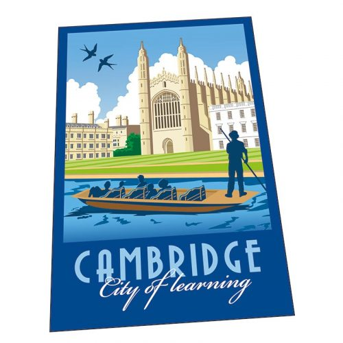 tea towel with illustration of punting beside Kings college
