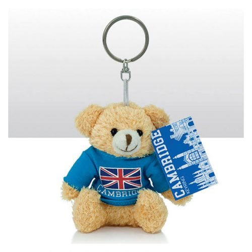 keyring with soft bear in union jack Cambridge jumper