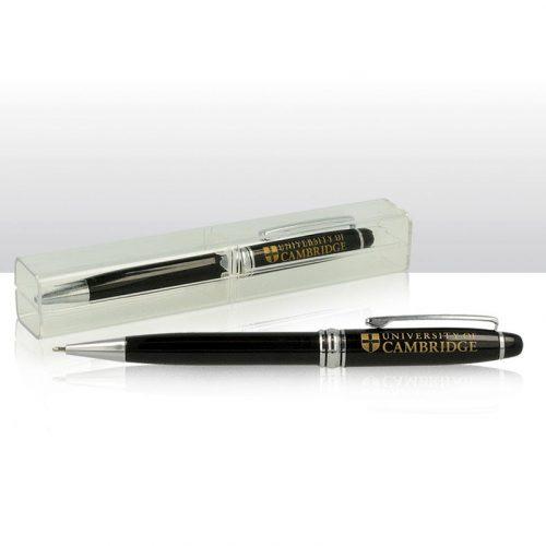 University ballpoint pen in clear case